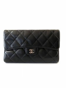 d7cb36ad903a0f Chanel Black L Quilted Lambskin Classic Flap 232058 Wallet - Tradesy