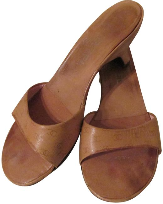 Item - Beige/Taupe-kitten Heel Leather Open with Cc Logo Sandals Size US 8 Regular (M, B)
