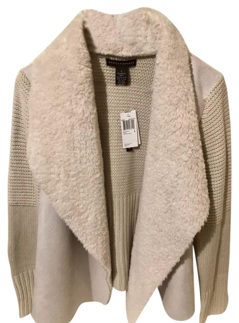 Item - Winter Ivory L New Sweater-sleeve Faux-shearling Cardigan Size 12 (L)