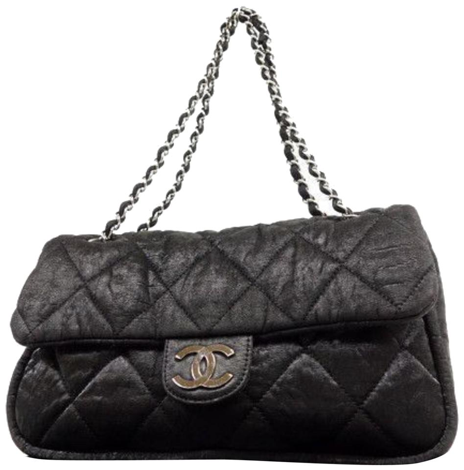 27f69766996f Chanel Classic Quilted Jumbo Chain Flap 232847 Black Nylon Shoulder ...