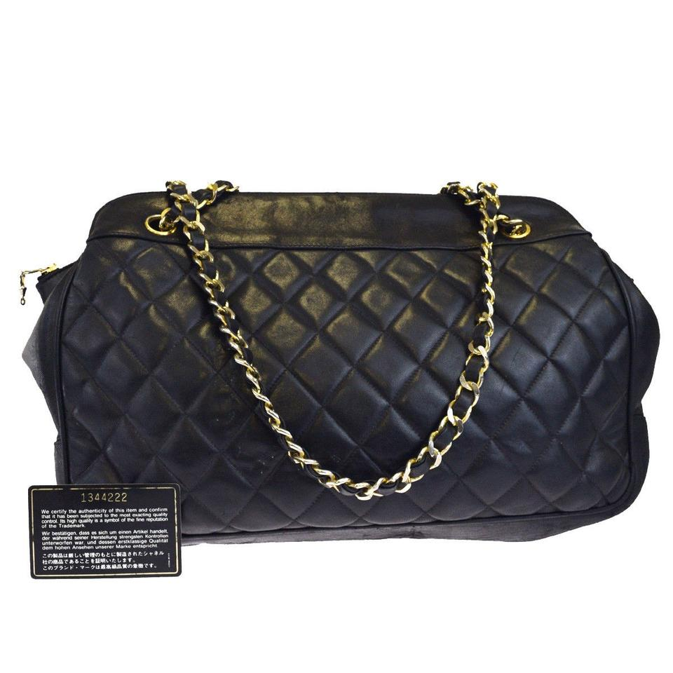a0d05ca297038 Chanel Logo Cc Quilted Chain Italy Black Leather Shoulder Bag - Tradesy