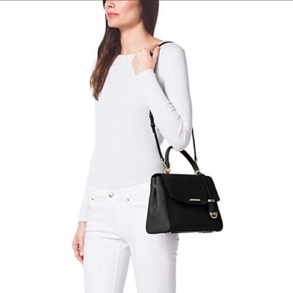 8f96c55f1bb5 ... purchase michael michael kors small black leather satchel a03fe 74ee3