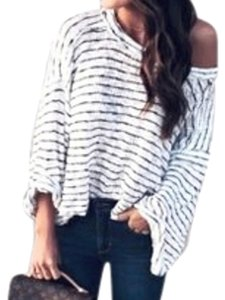 Free People Sheer Cotton Unfinished Edges Subtle Side Vents Rolled Sleeve Cuffs Breezy Top Black White