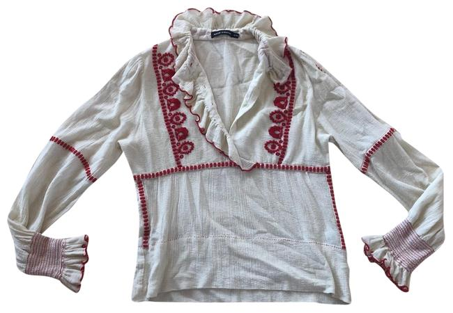 Item - Cream and Hot Pink Embroidered Long Sleeve M/40 Tunic Size 8 (M)