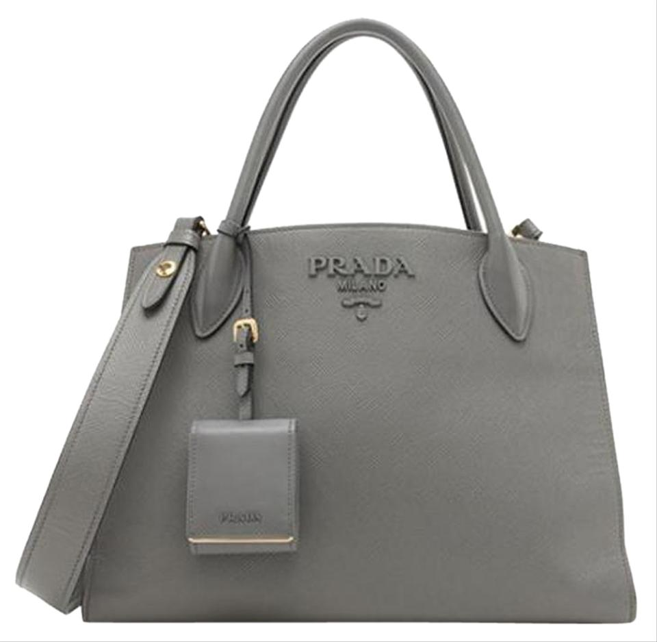 b979a017070 Prada Saffiano Cuir City Monochrome Top Handle Medium Grey Leather Tote 44%  off retail