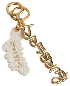 Burberry Burberry White Leather and Gold Purse Charm Keychain
