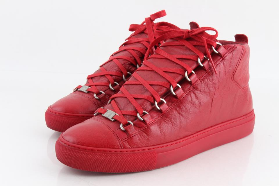 a7a42436c793 Balenciaga Red Men s Arena Leather Mid-top Sneakers Athletic Size US 8  Regular (M ...