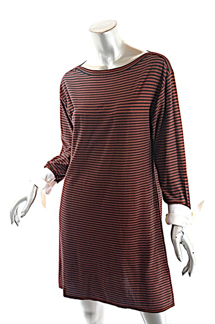 Item - Red Navy W Cotton Striped 3/4 White Knot Short Casual Dress Size 10 (M)