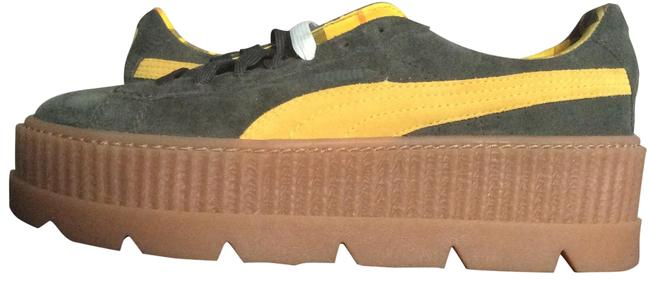 Item - Green & Yellow Cleated Creeper Suede Sneakers Size US 9.5 Regular (M, B)