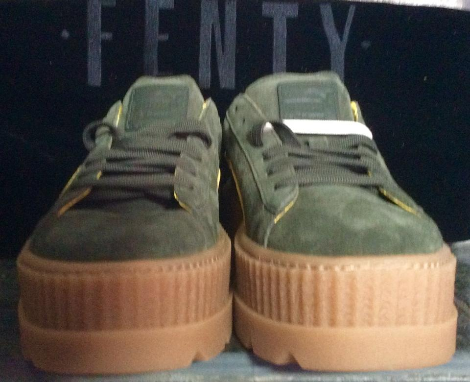 official photos 3f3ac 89d66 FENTY PUMA by Rihanna Green & Yellow Cleated Creeper Suede Sneakers Size US  9.5 Regular (M, B) 48% off retail