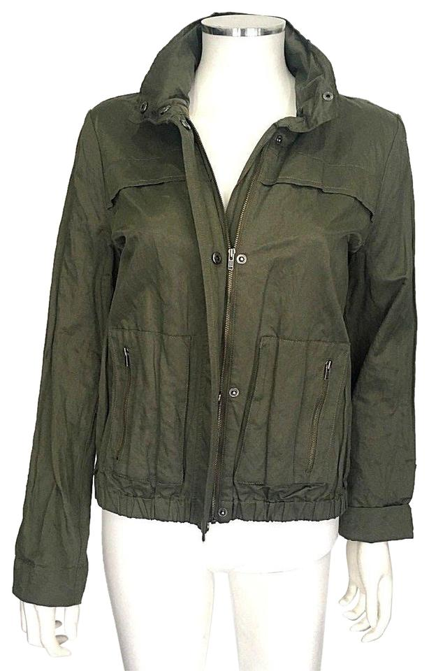 1f8c258db7f Joie Green Fatigue Large Barker Hooded Sateen Shirt Coat Jacket Size 12 (L)