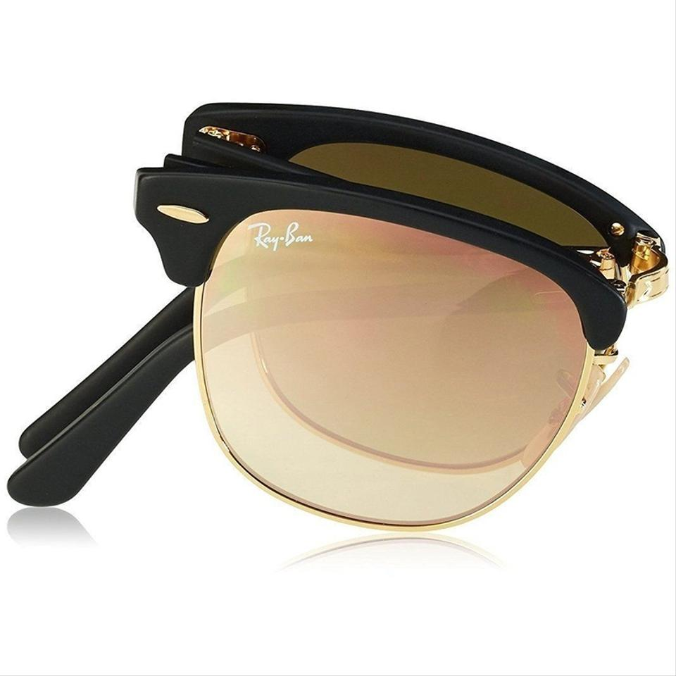 3584e245d84 Ray-Ban Clubmaster Folding Flash Black Gold Frame   Copper Gradient Flash  Mirrored Lens Rb2176 901s7o Square Style Unisex Sunglasses - Tradesy