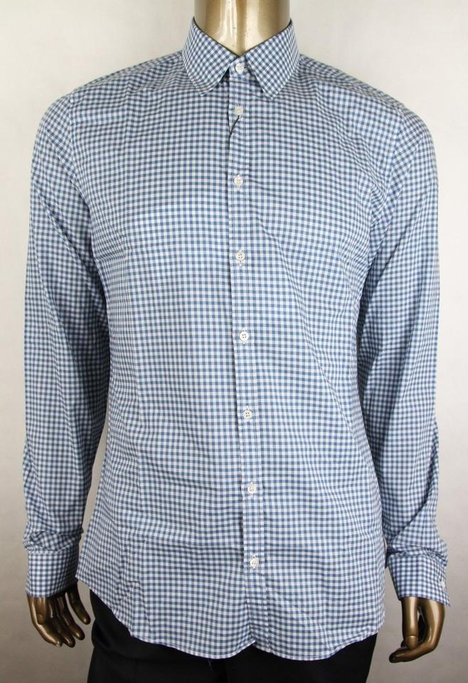 1214c55d9 Gucci Blue/White Men's Cotton Herringbone Regular Fitting 42/16.5 406828  4850 Shirt Image ...