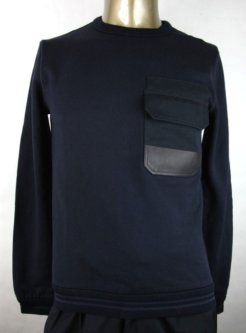 Gucci Blue W Men's Cotton Pullover W/Leather Pocket S 387765 4440 Groomsman Gift Gucci Blue W Men's Cotton Pullover W/Leather Pocket S 387765 4440 Groomsman Gift Image 1