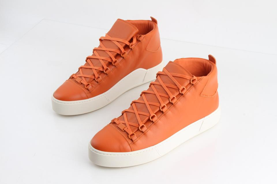 e61aa3a74f77 Balenciaga Orange Thick-sole Grained Leather Sneakers Shoes Image 0 ...