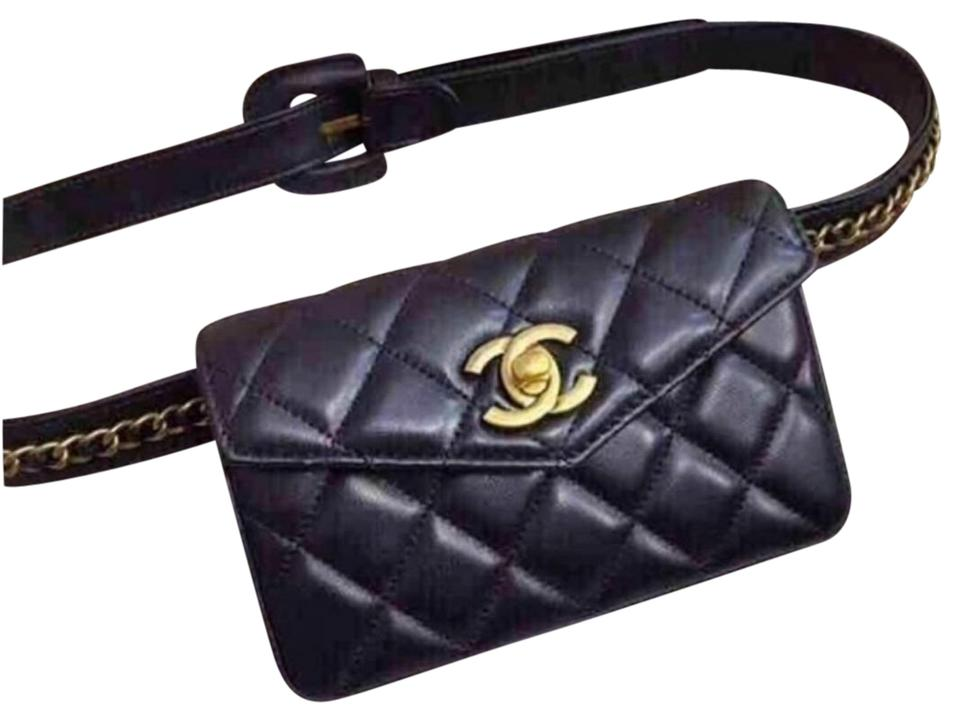 94b2eab54 Chanel Belt Bum Quilted Waist Belt Fanny Pack Black Lambskin Leather ...