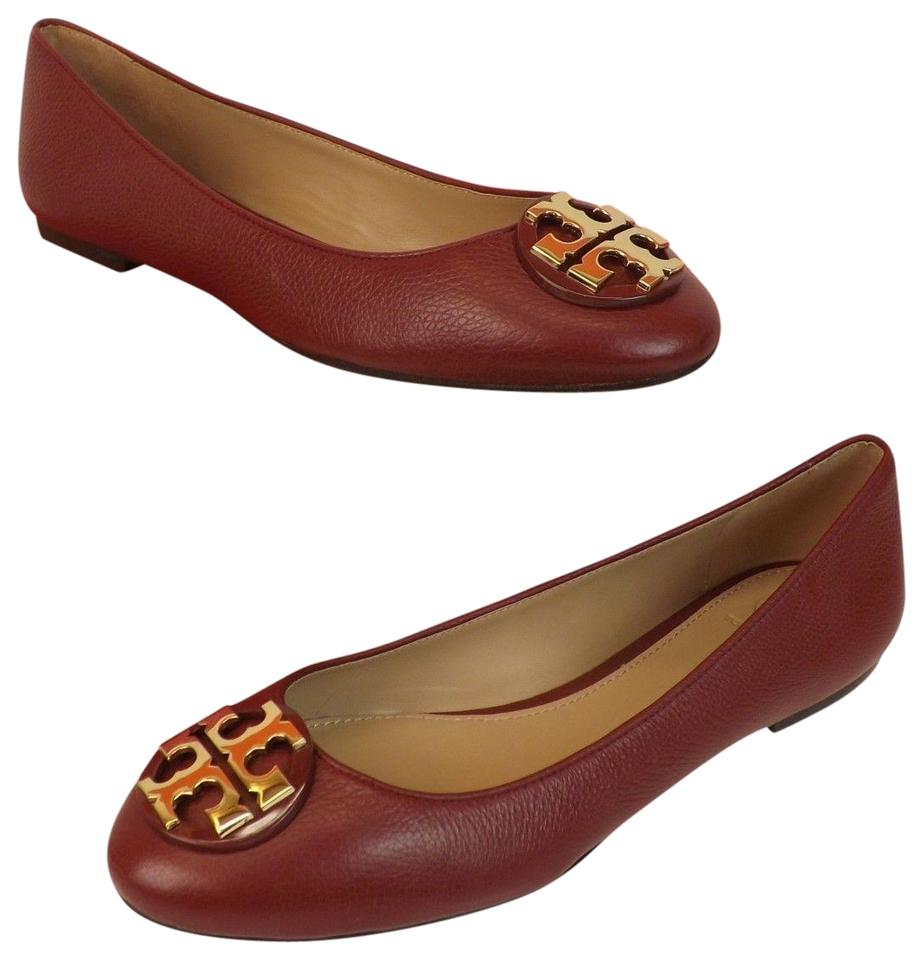 3b84512ff678 Tory Burch Red Claire Agate Tumbled Leather Gold Tone Reva Ballet ...