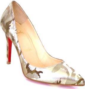 Christian Louboutin Camouflage Metallic Suede Leather Camouflage, Gold Pumps