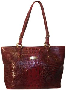 Brahmin Crocodile Embossed Leather Tote In Red Cranberry