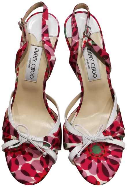 Item - Pink Purple and Green Strappy Bow Heels Formal Shoes Size EU 40 (Approx. US 10) Regular (M, B)