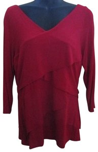 Vince Camuto Asymmetrical Tiered Formal Stretch Fall Top Red