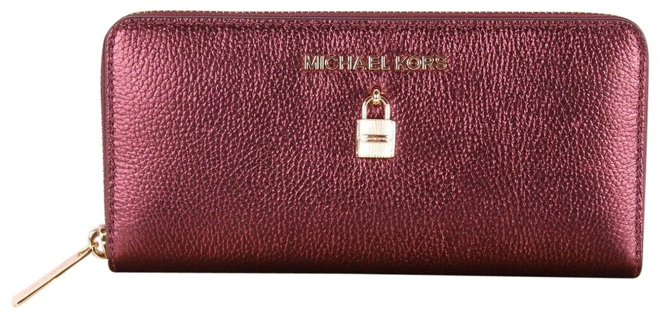 521f838adba4 Michael Kors Red Adele Zip Around Continental Clutch Bag Boxed Wallet