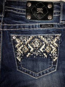 Miss Me Aztec Stretchy Embellished Boot Cut Jeans-Dark Rinse