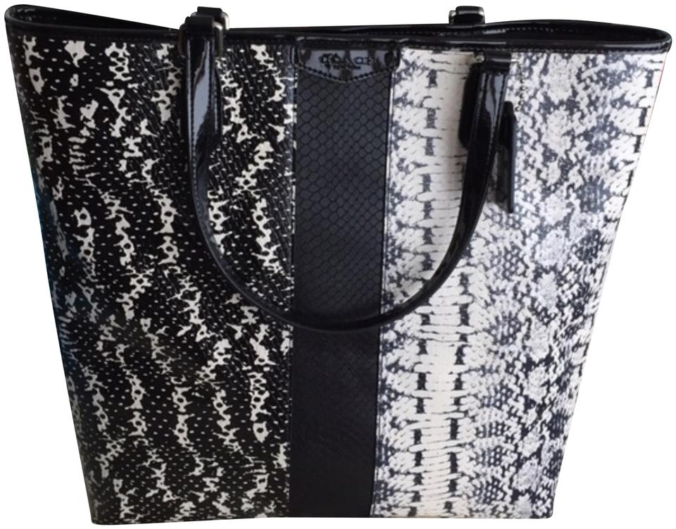 Coach Mixed Black   White Exotic Embossed Tote - Tradesy fb67d1eee2