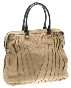 Valentino Leather Pintucks Fabric Tote in Beige