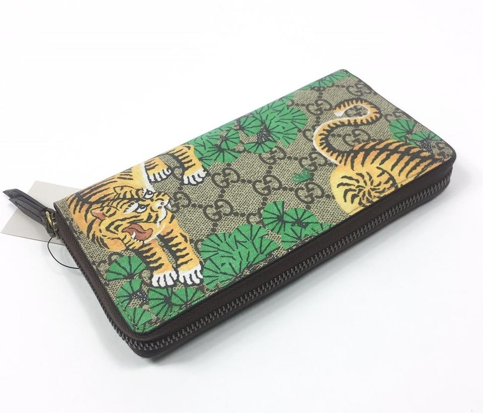 2528c89cc22 Gucci Green Brown Beige  451468 Gg Supreme Bengal Tiger Print Wallet ...