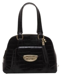 Lancel Adjani Croc Canvas Satchel in Black