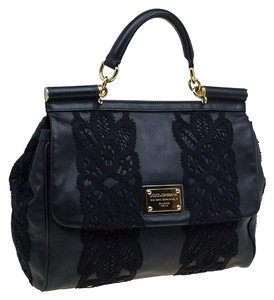 Dolce&Gabbana Sicily Leather Fabric Tote in Black