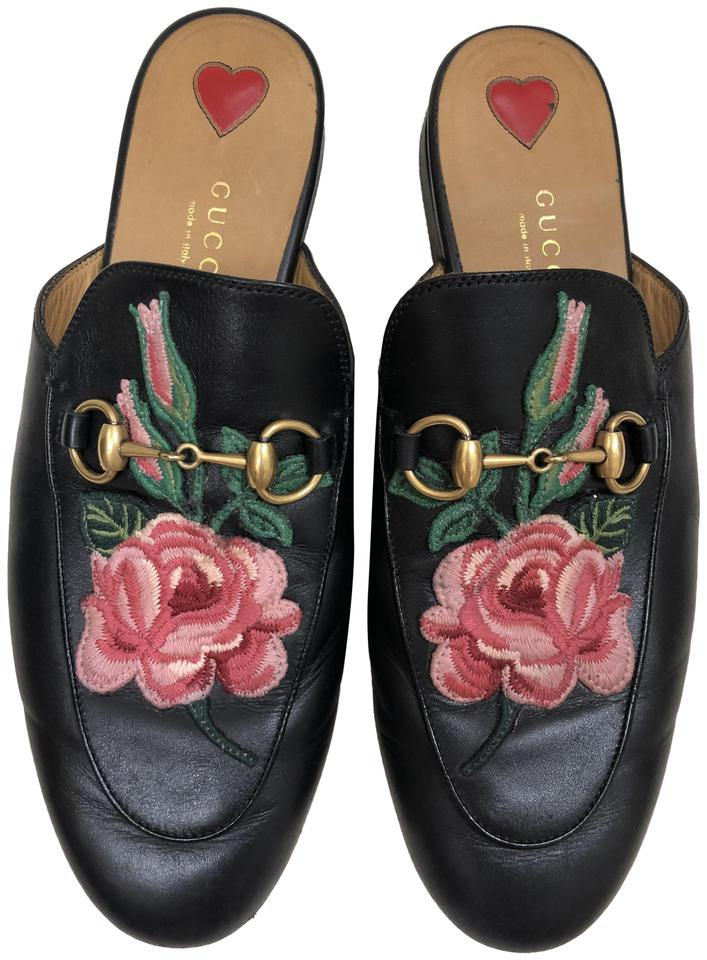 1effc701398 Gucci Black Princetown Floral Leather Slippers Flats. Size  EU 37 ...