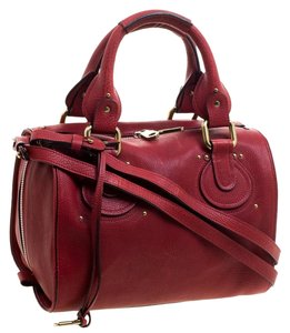 Chloé Aurore Leather Dual Zip Satchel in red