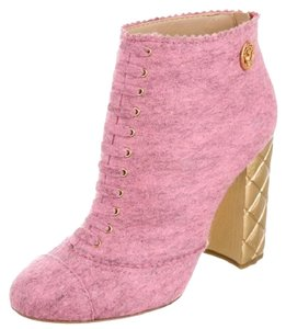 Chanel Pink Cc Suede Calfskin and