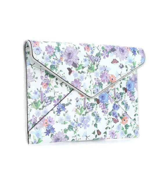 Item - New Printed Leo Envelope White & Multi-color Floral Leather Clutch