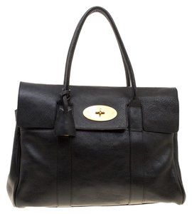 Mulberry Leather Suede Satchel in Black