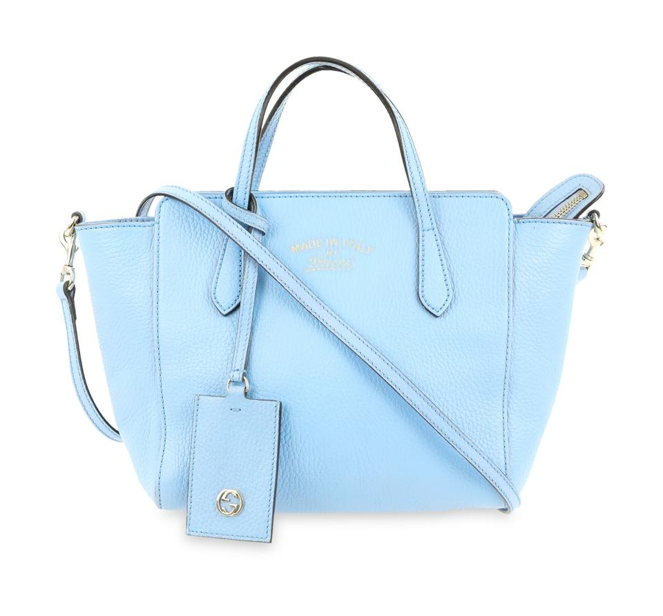 cc45602d7a87 Gucci Swing Mini Light Blue Leather Tote - Tradesy