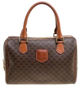 Céline Leather Coated Canvas Satchel in Brown