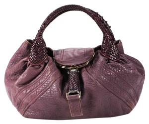 Fendi Brass/Gold Hardware Spy Leather Body Brown Zucco Lining Fold Over W/ 2 Strap Satchel in Purple