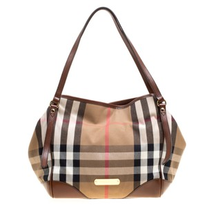 Burberry Canvas Fabric Leather Tote in Brown