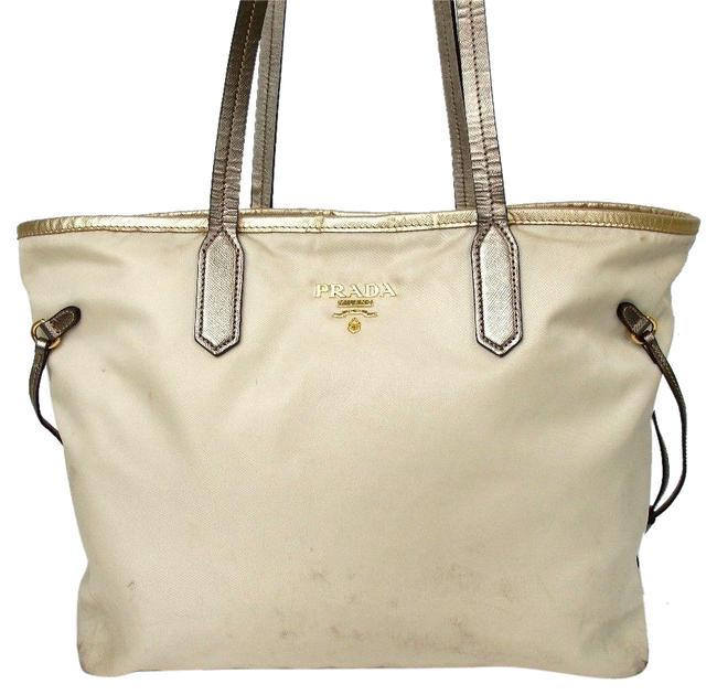 Item - Milano Beige Gold Leather Tote