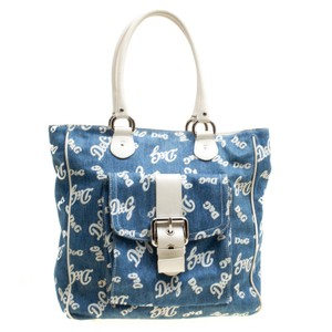 Dolce&Gabbana Satin Denim Leather Tote in Multicolor