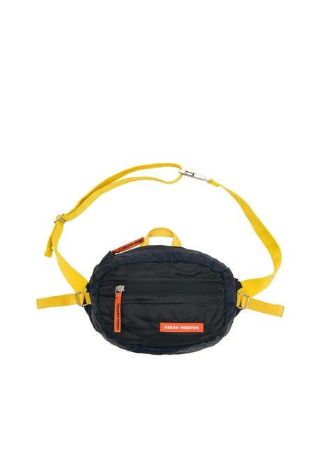 Item - Orange & Yellow Fanny Pack Ripstop Belt Cross Body Black Polyamide Wristlet