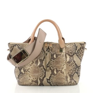 Chloé Python Leather Satchel in brown and pink