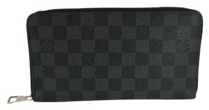 Louis Vuitton Auth Louis Vuitton Zippy Organizer Damier Graphite Canvas Wallet