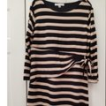 Navy striped Maxi Dress by Larry Levine Wrap New With Tags Plus-size Blue-stripe