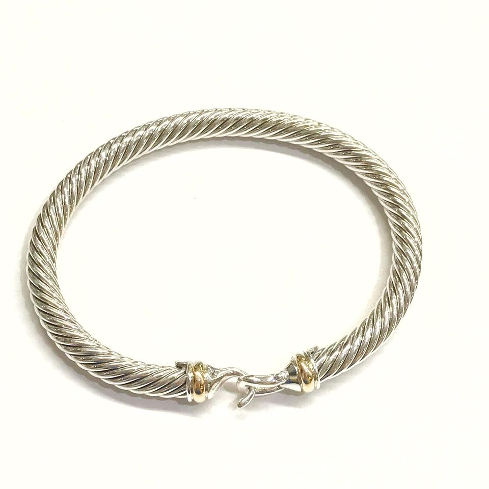 David Yurman Like New 5 Mm Cable Clic Buckle With 18 Karat Yellow Gold And Sterling Silver Bracelet