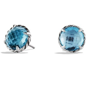 David Yurman BEAUTIFUL!! LIKE NEW!!! David Yurman Chatelaine Faceted Blue Topaz Sterling Silver Earrings with 14 Karat White Gold Post Sterling Silver 14 Karat White Gold Post 8mm Diameter Faceted Blue Topaz 100% Authentic Guaranteed!!! Comes with Original David Yurman Pouch!!!