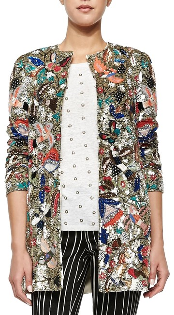 Item - Silver Multi Color Sequin Embroidered Evening Party Jacket Coat Size 8 (M)